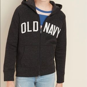 Old Navy Kids Charcoal Hoodie Zip-up Sweater NWT